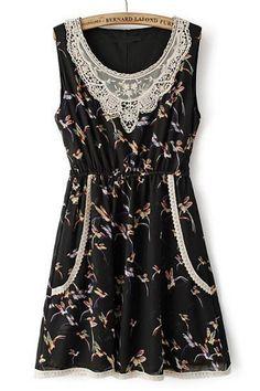 Bird Sleeveless Chiffon Dress - OASAP.com