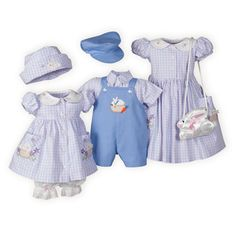 The perfect brother-sister Easter outfits! Pastel pink and periwinkle blue plaid of cotton oxford cloth. Girls dresses have cute bunny button fronts.