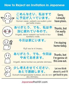 How to Reject an invitation in Japanese Learn Japanese Beginner, Learn Japanese Words, Study Japanese, Japanese Culture, Japanese Quotes, Japanese Phrases, Japanese Conversation, Short Conversation, Japanese Language Learning