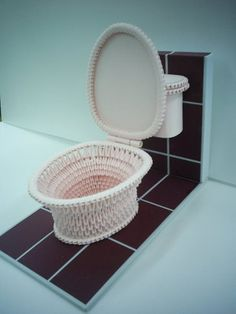 3D Origami - Pink Toilet Bowl