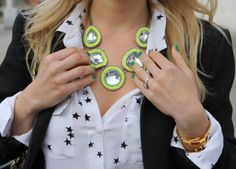 DIY Inspiration | Neon Statement necklace | I SPY DIY-site has lots of fun ideas (try to find starry starry dress for how to put stamp and iron on stars)