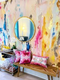 Large Scale Printed Abstract Mustard, Fuchsia, Navy, Removable wall mural tall x wide with gold leaf embellishment kit!