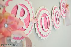The Works Birthday Banners, Special Occasion, name banner, nursery decor, photo prop. $65.00, via Etsy.