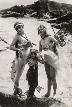 """Annette Kellerman (left) in """"Queen of the Seas"""" (1918) and pieces of her stage attire, Powerhouse Museum collection."""