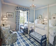 Hydrangea Hill Cottage. I love blue and white. My living room is now this color blue. I need curtains like that.