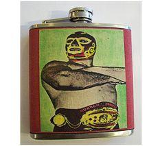 Mexican wrestler flask retro vintage by buckaroosmercantile, $18.95