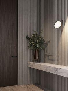 Residence on Behance Design Hall, Foyer Design, Hallway Designs, Wall Design, House Design, Apartment Interior, Bathroom Interior, Japanese Minimalist, Interior Design Photography