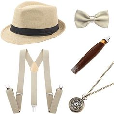 110dc0e2730b45 BABEYOND 1920s Mens Gatsby Gangster Costume Accessories Set 30s ...