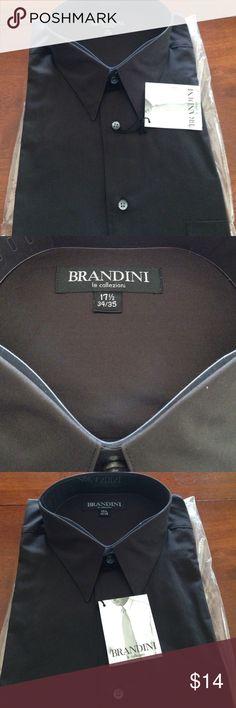 Men's long sleeve dress shirt- New Black dress shirt by Brandini in size 17 1/2 x 34/35 brand new Brandini Shirts Dress Shirts