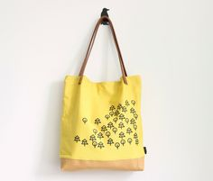 Large yellow tote bag screenprinted tote bag/ Forest by MUNIshop, $69.00