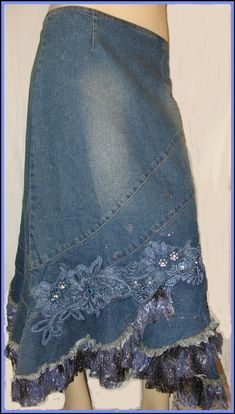 lace appliques and bling ~ New Embellished denim rhinestones sequins lace w/gold Blue Jean Skirt Sewing Clothes, Diy Clothes, Denim Ideas, Denim Crafts, Altered Couture, Jeans Rock, Denim And Lace, Recycled Denim, Denim Outfit