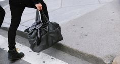 http://chicerman.com  billy-george:  I really like this leather bag!  Photo by George Elder  #streetstyleformen
