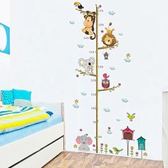 Wallpark Cartoon Animal Zoo Cute Elephant Lion Owl Monkey Tree Height Sticker, Growth Height Chart Measuring Removable Wall Decal, Children Kids Baby Home Room Nursery DIY Decorative Art Wall Mural *** Read more at the image link. (This is an affiliate link) #Stickers