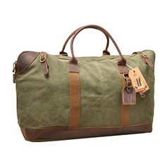 Vinpak Oversize Canvas Leather Holdall Travel Duffle Overnight Weekend  Satchel Totes Bag Handbags (green) 4d1f107906