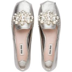 Miu Miu SLIPPERS (1,025 CAD) ❤ liked on Polyvore featuring shoes and slippers