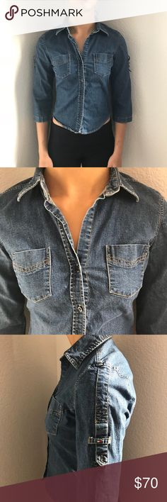 Tommy Hilfiger Denim Button Up Shirt Good condition. No rips, stains, or tears. Cute denim button up! Fitted style. ⭐️Smoke-free and pet-free home. No trades.  Will work with reasonable offers! Will answer any questions. 1-2 day shipping. BUNDLE to get more out of your shipping and to SAVE with discounts!⭐️ Tommy Hilfiger Tops Button Down Shirts