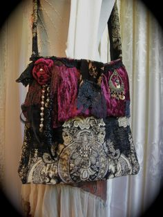 Gypsy Carpet Bag handmade thick tapestry embellished with black lace and purse charms by Dede