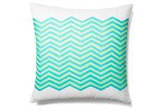 Waves 20x20 Outdoor Pillow, Teal on OneKingsLane.com