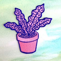 Feelin leafy like  #patch #embroidery #plant #tropicana #etsy #plantpot #illustration #fabric by Zurvita Zeal Wellness