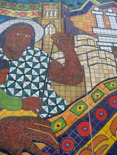 """""""""""Patterns of Detroit"""", Hubert Massey (central panel, An all tile mosaic located on the east wall of the Center for Creative Studies parking ramp."""" Created by community artists in tandem with youth groups. Here, a black angel. Tile Art, Mosaic Art, Mosaic Tiles, Craftsman Tile, Detroit Art, Clay Wall Art, Black Angels, Handmade Tiles, Street Artists"""