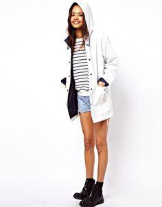 very cute white and navy raincoat