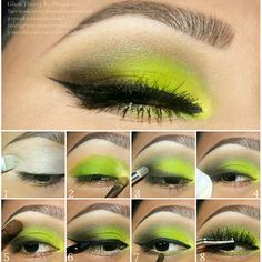 Yellow neon makeup tutorial