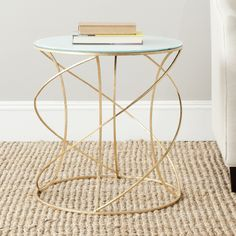 Safavieh Treasures Cagney Gold/ White Top Accent Table (FOX2535A)
