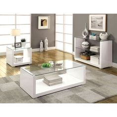 Designs that instantly create a modern atmosphere, this accent tables set features gorgeous high gloss finishes that emphasize the clear glass tops. The U-shaped frames create handy open bottom shelves that act as both storage or display areas.