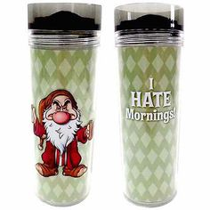 disney parks seven dwarfs grumpy i hate mornings travel cup mug new