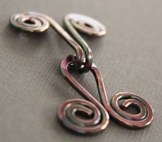 Handmade spiral copper cardigan clasp or sweater by IngoDesign, $9.00