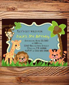 jungle birthday invitations Safari Animals Photo 1st Birthday