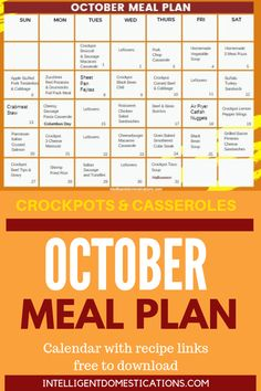 The October Meal Plan means Fall Foods like Crockpot and Casserole recipes as well as Soups! Apple recipes begin to make an appearance. Apple Recipes, Fall Recipes, Crockpot Recipes, Delicious Recipes, Dinner Recipes, Easy One Pot Meals, One Dish Dinners, Cheesy Sausage Pasta, Meat Pizza