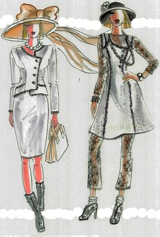 "The cream color wool suit, a jacket with a pencil skirt, looks original grateful to its asymmetrical closure with matching decorative trimming and pearl buttons. The right model wears a sleeveless dress with pants and long-sleeved top from delicate lace. All edges, hemlines are trimmed.  Finally, all garments of this collection could be easily transferred from ""day to night"" by adding matching accessories: pearl/silver/gold necklaces, hats, scarves, brooches, gloves, and bracelets."