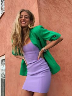 The New Colour Combinations We're Trialling for Spring — Who What Wear UK Purple Fashion, Fashion Colours, Colorful Fashion, Look Fashion, Runway Fashion, Girl Fashion, Fashion Trends, Colour Combinations Fashion, Color Combinations For Clothes