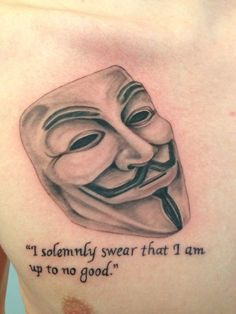 Guy Fawkes Mask. Done by Ram Lee @ Traverse City Tattoo