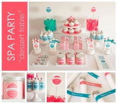 Some great ideas to help you throw a fantastic Spa Party. We'll walk you through the various treatments, party favors, menus and costs you should consider as you plan a spa party for yourself and your friends. Dessert Party, Party Desserts, Dessert Tables, Spa Birthday Parties, Sleepover Party, Diy Spa, Pyjamas Party, Girl Spa Party, Pamper Party