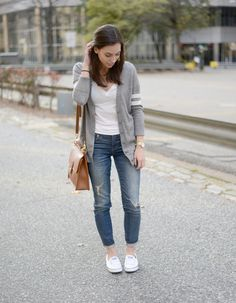 Wellesley & King   Every girl style on a budget. Click to see more fall outfit inspiration like this basic white tee, varsity cardigan, distressed skinny jeans and leather satchel.