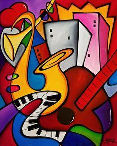 Abstract painting Modern pop Art original Seabreeze Jazz Fest 2019 Canvas Print by Fidostudio - Breeze Pop Art Collage, Cubism Art, Modern Pop Art, Jazz Art, Canvas Art, Canvas Prints, Chicago Artists, Arte Popular, Art Moderne