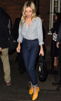 Sienna Miller in a button down shirt, jeans and low heels  - click through for more fall outfit ideas