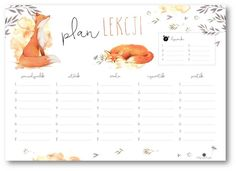 school timetable with fox Timetable Planner, School Timetable, Study Planner, Weekly Planner, Life Planner, School Planner, Kids Zone, School Notes, Printable Planner