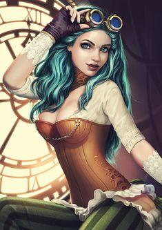 "art-of-cg-girls: ""Steampunk pin-up girl illustration by Oana Birtea """