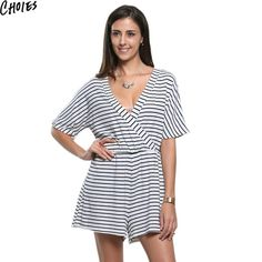 df9aa3c9b91 Choies Women Black White Cotton Casual Stripe Wrap V Neck Short Sleeve  Romper