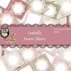 Isabella Inserts - Instant download, Digital Paper Pack, Shabby Chic Paper, Digital Collage Sheet, Vintage Paper, Cardmaking by MicheleRDesign on Etsy