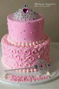 Pretty two layer princess fairy birthday cake idea. G;)