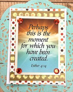 """Perhaps This Is The Moment Note Card, Esther 4:14, Religious, Encouragement, Believe, Love, Friend, Sky, Clouds, God, Sun, Dots - 4"""" x 5.5"""" by PaperDahlsLLC on Etsy"""