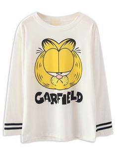 White Garfield Print Long Sleeve T-shirt   Choies