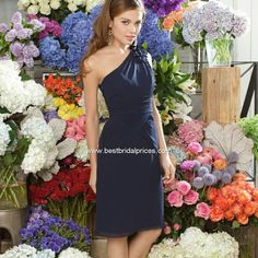 Stunning Chiffon Sheath One Shoulder Short Bridesmaid Dress Fabric: Chiffon Details: The chiffon dress features one shoulder neckline. There is a handmade flower as the decoration on the strap. Bridesmaid Dresses Uk, Bridal Party Dresses, Wedding Dresses, Navy Midi Dress, Chiffon Dress, Formal Dresses, Shoulder, Women, Neckline