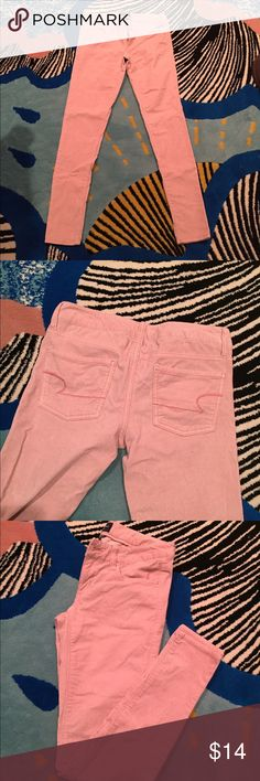 American Eagle Corduroy Jeggings In great condition! Blush pink corduroy jeggings, super warm material, skinny fit. Slight accidental pen mark in photo.  Size 4 REG Jeans Skinny