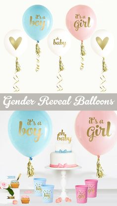 Gender Reveal Balloons are a perfect gender reveal ideas for decorations for your gender reveal party! Use for a gender reveal banner, sign, centerpiece and more! by Mod Party Gender Reveal Banner, Gender Reveal Gifts, Gender Reveal Balloons, Gender Reveal Party Decorations, Baby Gender Reveal Party, Gender Party, Fiesta Baby Shower, Baby Shower Gifts, Vogue Kids