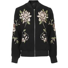 TOPSHOP Floral Embroidered Bomber Jacket (215 BRL) ❤ liked on Polyvore featuring outerwear, jackets, tops, coats, black, blouson jacket, bomber style jacket, flight jackets, bomber jacket and zip front jacket